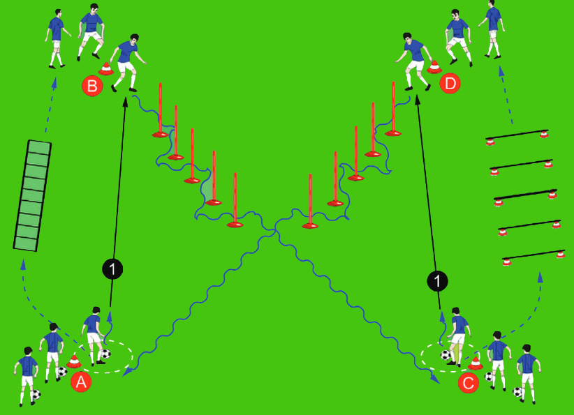 Guida della palla in slalom